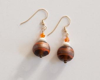 14 Karat Swarovski crystal, bone, glass earrings