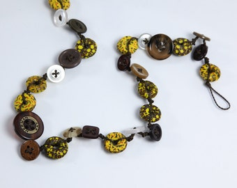 Button and African Bead Necklace