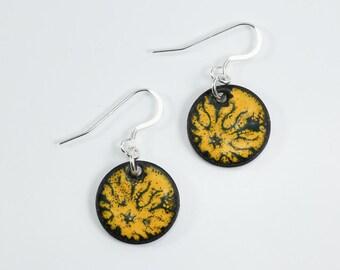 Sterling Silver Metal Enamel on Copper Penny Earrings YellowOrange & Black Penny Earrings Metal Earrings