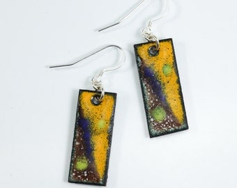 Sterling Silver Artistic Metal Enamel Earrings, Copper Earrings, Abstract Earrings, Metal Enamel Earrings
