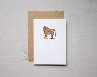 Cheeky - Monkey Card - Anniversary Card - Funny Card - Birthday Card - Love Card - Note Card - Animal Card