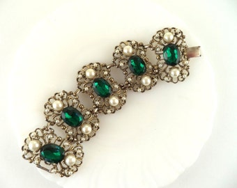 Wide Vintage Emerald Green Rhinestone and Pearl Link Bracelet Unsigned Selro Style