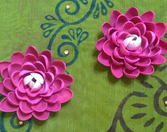 Pistachio Shell Flower Magnets - Set of Two - Pink