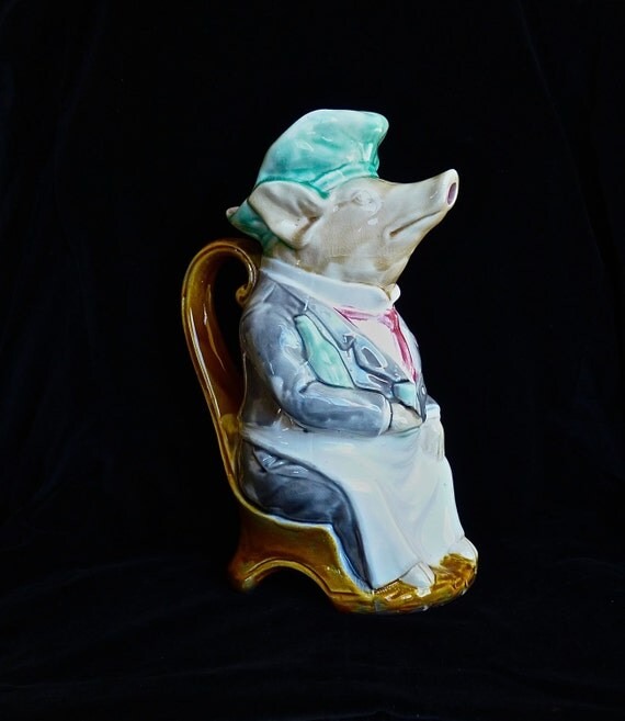 "FRENCH POTTERY ONNAING ~ Pig Waiter Pitcher ~ Antique French Onnaing Majolica ~ ""Maitre D'Hotel Pig Pitcher"" ~ Cica 1880-1900:"