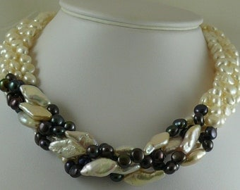 Freshwater Black and White Pearl Choker Necklace with Sterling Silver Fish Lock