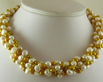 Freshwater White and Golden Pearl Choker Necklace with Sterling Silver Clasp