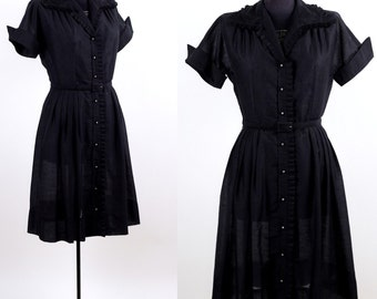 Vintage 1950s Black Beauty Day Dress / medium large