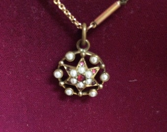 Victorian pearl garnet necklace in rolled rose gold