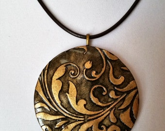 Damask Pendant I Necklace - Brown and Gold
