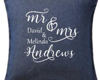 Mr & Mrs Love Heart Text Marriage/Wedding Cushion/Throw/Pillow Cover