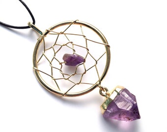 Amethyst Dreamcatcher Gold Necklace