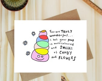 Funny poop card -Funny Valentines Day card - Galentine card - Funny Birthday card - Valentines Day card for Friend - Card for Husband -