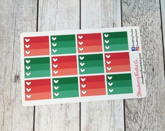 Christmas Red and Green Monthly Half Ombre Checklist Planner Stickers -Vertical Planners/