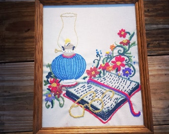 Vintage Crewel Embroidery Needlepoint, oil lamp, folk, large crewel, framed, bright