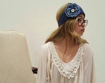 Navy Blue Flower Headband With Sky Blue Trim