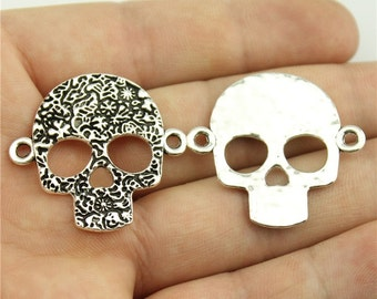 3 Skull Connector Charms, Antique Silver Tone (1D-240)