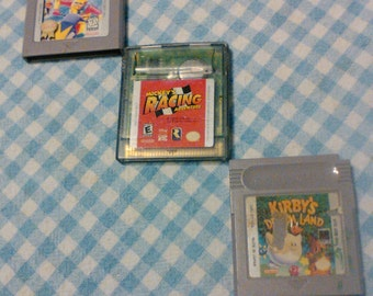 Lot of 3 Nintendo Game Boy Game cartridges ( 2-GB / 1-GB Color) Loose, NO Books or Boxes ( Kirby Dream Land / Micky's Racing / Wave Race )