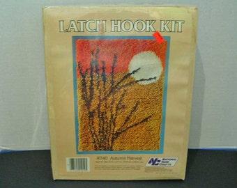 Vintage Latch Hook Kit Wall Hanging National Yarn Crafts Autumn Harvest Sealed
