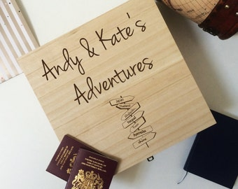 Travel Keepsake Box, Honeymoon keepsake box, Adventure keepsake box, personalised memories box, Collectors keepsake box