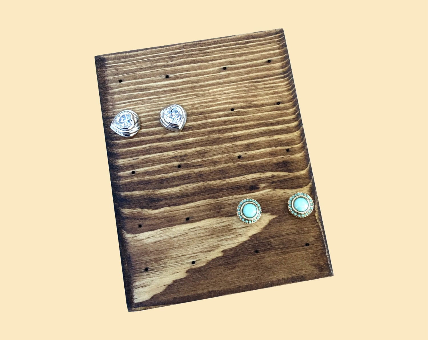 post and stud earring display holder stand vintage wooden