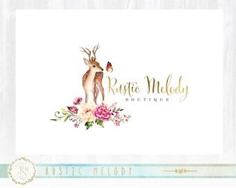 Forest Logo,Floral Logo, Deer Logo Design, Florist Logo, Doe Logo, Photography Logo ,Baby Boutique Logo ,Watermark