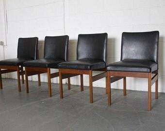 Retro 60s 70s Mid Century Danish Style 4 Teak & Black Vinyl Dining Chairs