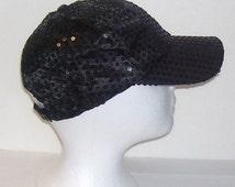 Black Sequined Rave Disco Baseball Style Hat Cap Adj Sz S - XXL for Costumes, Dance, Raves, Theater, Parties, PokemonGo Teams, Etc