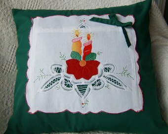 "Christmas Pillow Cover, 16""x 16"" Pillow Cover, Upcycled Pillow Cover, Vintage Pillow Cover, Appliqued Pillow Cover, Green Pillow Cover"