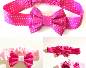 Pink headband with dubble bow / mum & baby gift