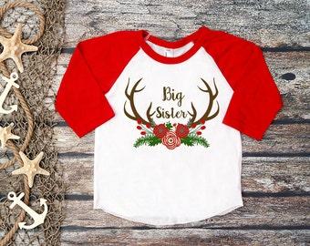 Big Sister Shirt;Big Sister;Christmas Announcement;Baby Announcement;Big Sister Tee;Antler Tee;Girl Antler Shirt;Sibling Shirt;Christmas Tee