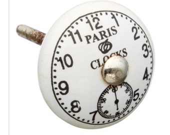 Paris Clocks Ceramic Knob Pull for Furniture, Dresser, Drawer or Cabinet - M11