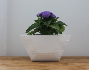 White Geometric Planter