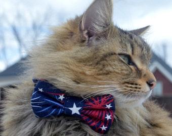 Patriotic cat bow tie collar, Patriotic kitten bow tie collar, Patriotic Cat costume, holiday cat collar, holiday cat bow tie, dog bow tie