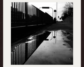 London Photography, Street Photography, Black And White Photography, Newbury Park, Puddle, Reflection, Wall Art, Home Decor, Wall Decor