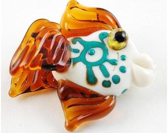 Glass Fish Lampwork Focal Bead. Fish Pendant Jewelry Jewellery Lampwork Animal Bead Glass Lampwork Beads Fish bead flamework Murano Glass
