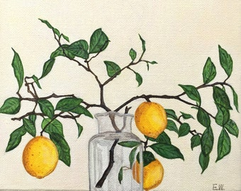 Still life painting, lemon branches, fruit painting, yellow painting