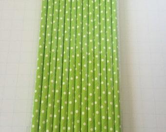 25 PAPER STRAWS DOTS Green  Apple