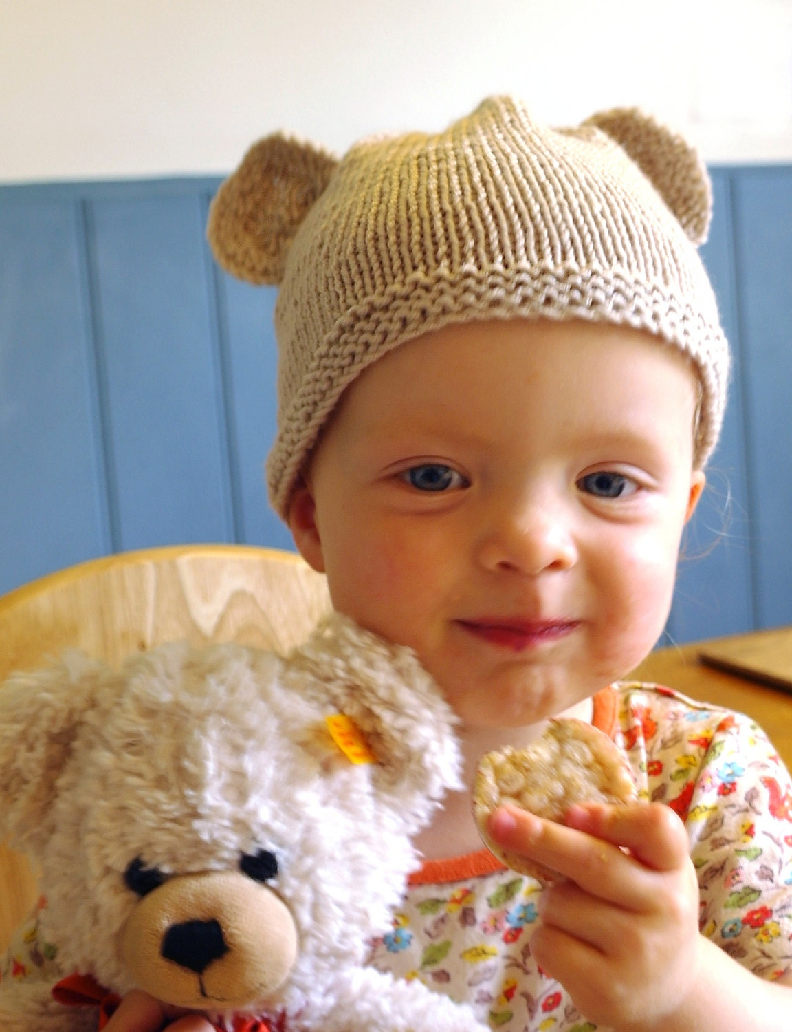 Easy baby knitting pattern teddy bear hat baby hat with ears this is a digital file bankloansurffo Gallery