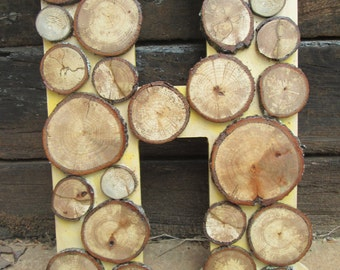 """Rustic Extra Large Wood Slice Letter """"H"""""""