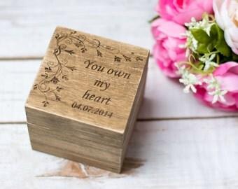 Wedding Ring Box Bearer Personalized Ring Box Pillow Ring Holder Rustic Ring Box Wedding Decor Country Wedding Ring Bear box