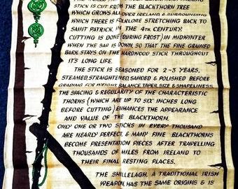 Irish Linen Mills ~ The Origin of the Irish Blackthorn ~ Vintage Mint Linen Towel