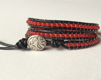Red Glass Bead and Black Leather Triple Wrap Bracelet