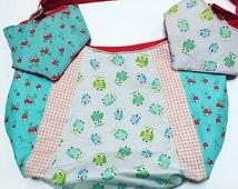 Mushroom and owl design babybag with two matching bandana bibs