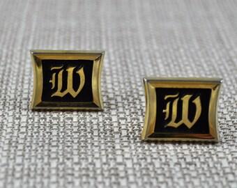 Mid century initial W Hickok gold tone cufflinks