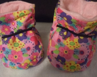 Fabric Flowered Pink Baby Booties