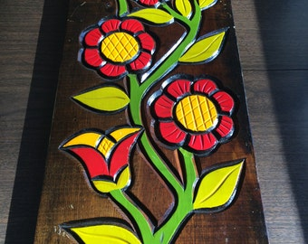 Woodcut Floral Wall Hanging