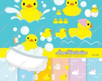 Rubber duck Clipart,Rubber ducky Clipart,Digital papers,Personal & Commercial use,Vector, Instant download_ CA-06