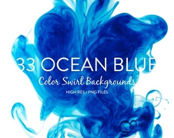 Water and Ink Background Textures - OCEAN BLUE Color Swirl Backgrounds