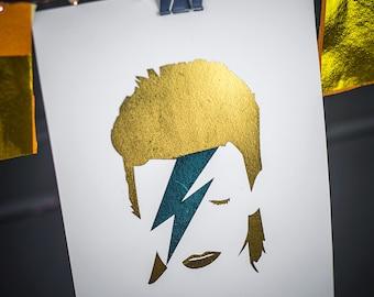 David Bowie foil print