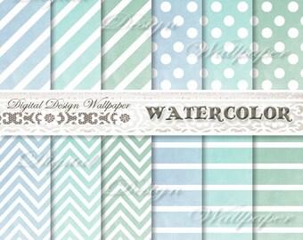 Watercolor Digital Paper,Teal Watercolor Digital Paper Pack,Blue,Polka Dots,Stripes,Chevron,Scrapbook Paper,Watercolor